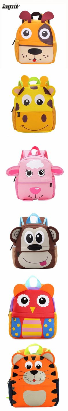 New 3D Cute Animal Design Backpack Kids School Bags For Teenage Girls Boys Cartoon Dog Monkey Shaped Children Backpacks Big Size $15