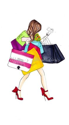 """More illustrations LINE BOTWIN """"girly illustrations """" Shopping is my Cardio by Melsys on Etsy Fashion Quotes, Fashion Art, Illustrations, Illustration Art, Wallpaper Fofos, Custom Coasters, Video Games For Kids, Fashion Sketches, Cardio"""