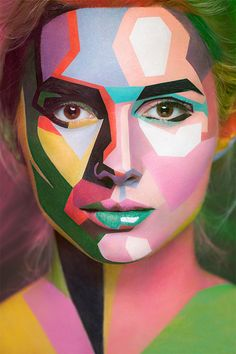 Faces of beautiful models painted to look like two-dimensional oil paintings.  Creative art project by Russian photographer Alexander Khokhlov and extremely talented makeup artist Valeriya Kutsan.  (text from Toxel)
