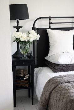 Bedroom with Black Accents