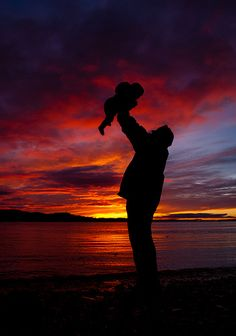 Love*  Daddy and Baby at this specific point in Time, with a Spectacular Sunset!!!!  *******