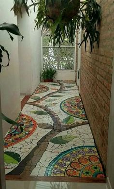 Look at this mosaic foyer AND the scrollwork filigree on the front - Floor Plants - Ideas of Floor Plants - OMGoodness! Look at this mosaic foyer AND the scrollwork filigree on the front door! Mosaic Art, Mosaic Glass, Mosaic Tiles, Mosaic Floors, Tiling, Garden Paths, Garden Art, Home And Garden, Garden Mosaics