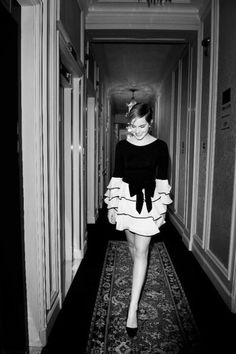 photoshoot idea.. black and white in hallway. you guys let's do this in Vegas!