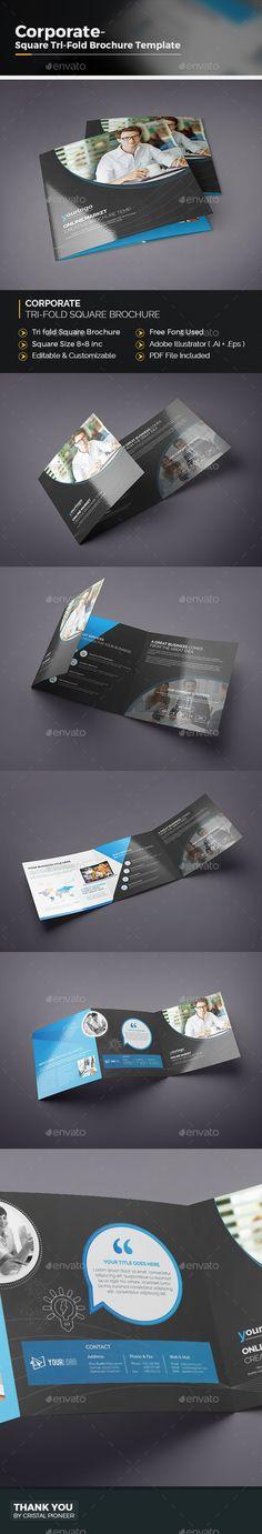 Tri-fold Square Brochure Template Vector EPS, AI Illustrator