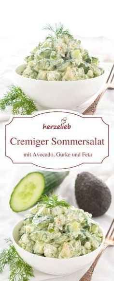 Salad recipes: Creamy summer salad with avocado, cucumber, feta and dill. Ideal for grilling! Low carb and gluten free. Recipe from Herzelieb. Informations About Sommersalat mit Gurke, Avocado, Feta und Dill – der besondere Salat … Grilling Recipes, Beef Recipes, Salad Recipes, Vegetarian Recipes, Chicken Recipes, Cooking Recipes, Vegetarian Brunch, Healthy Grilling, Low Carb Recipes