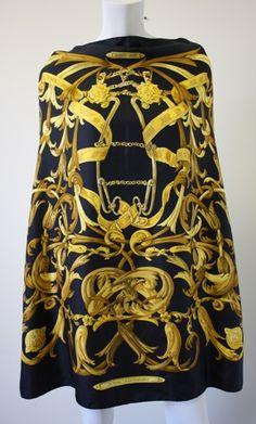 "Vintage 70's HERMES ""Le Mors a la Conetable"" 35"" Black & Gold Silk Equestrian Theme Scarf.  Dramatic!!"