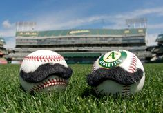 Baseballs with mustaches. These are relevant to my interests.