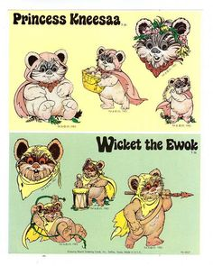 Star Wars Ewok Sticker Sheet Vintage 80's by CollectorsWarehouse, $5.50
