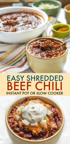 This easy shredded beef chili in the Instant Pot recipe is not only super tasty but very versatile. Eat like you would a bowl of chili or use for quesadillas or burritos. Also tastes great over rice or cauliflower rice. Only net carbs and you can als Gourmet Recipes, Crockpot Recipes, Soup Recipes, Cooking Recipes, Cooking Pasta, Rockcrok Recipes, Cooking Fish, Chili Recipes, Fall Recipes