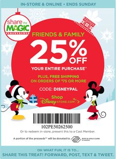 #ezSwag New #CouponCode In-Store & Online- Friends & Family #Disney Promotion Code DISNEYPAL expires Sunday 08 November 2015 11:59 P.M. PST. #HaveFun #ezSwag #savemoney #couponing