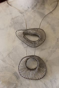 Riverstone Necklace, one of a kind wire jewelry by Kathy Frey, silver