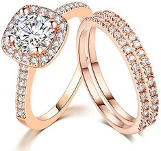 SDT Jewelry Three-in-One Bridal Wedding Engagement Anniversary Statement Eternity Ring Set Wedding Jewelry For Bride, Wedding Bands, Solitaire Ring, Eternity Ring, Wedding Engagement, Engagement Rings, Rose Gold Plates, Bracelet Watch, Anniversary