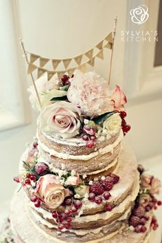 "www.sylviaskitchen.co.uk Three tier ""naked"" style wedding cake at The George in Rye, Sussex. Image by Dottie Photography"