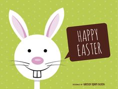 Smiley Easter bunny gives a happy Easter message, over a green dotted background. Space to personalize your wish. Perfect for the youngest members of