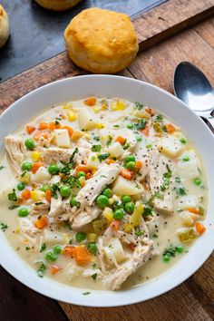 Chicken Pot Pie Soup Creamy Chicken Stew, Make Chicken Broth, Chili Soup, Whole 30 Recipes, Fall Recipes, Chicken Recipes, Soup Recipes, Recipies, Soup And Sandwich