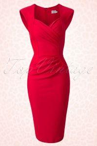 Diva Catwalk 50s Red Pin up Pencil Dress 100 20 14861 20150213 0005W