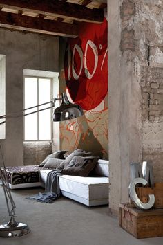♂ Masculine and rusty looking interior design with bold graphic wall