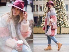 Ботинки, джинсы, шуба, шляпа, свитер, браслеты, сумка