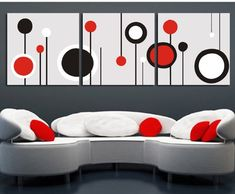Abstract decorative painting for Frameless paintings sofa backdrop canvas modern art of three pieces Diy Canvas Art, Wall Art Pictures, Diy Wall Decor, Geometric Art, Mosaic Art, Diy Painting, Wall Design, Modern Art, Amazon