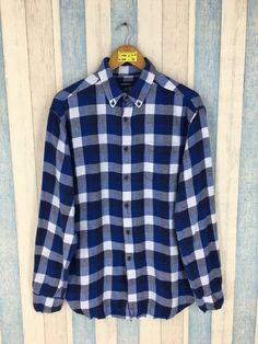 55a7c89c5 Vintage 90s Flannel Custom Fit Shirt Men/Women Medium Plaid Checkered  Hipster Flannel Indie Boho Blue Grunge Buttondown Shirt Size M