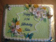 90th birthday cake, flowers are made from gumpaste