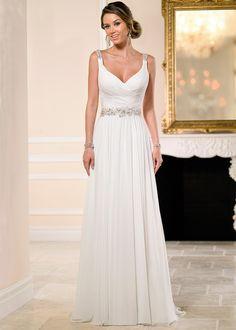 Elegant Chiffon Spaghetti Straps Neckline Natural Waistline Sheath Wedding Dress