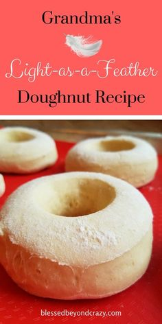 - Grandma's Light-as-a-Feather Doughnut Recipe really does live up to it's name. T… Grandma's Light-as-a-Feather Doughnut Recipe really does live up to it's name. These doughnuts are light, fluffy and delicious. Baked Donut Recipes, Baked Donuts, Baking Recipes, Dessert Recipes, Desserts, Fried Doughnut Recipe, Best Donut Recipe, Easy Donut Dough Recipe, Yeast Donuts