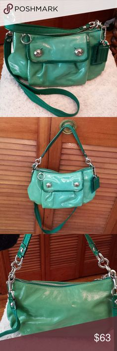 Coach Green Patent Xbody + Shoulder Bag Coach Green Patent Groovey Shoulder Bag,with detachable Crossbody Strap Creed 13852, Snap closure front pocket, Zipper closure on top, Purple Satin Lining, Zipper interior Pocket and a slip pocket, Good condition, H7 X W11 X D3 Coach Bags Crossbody Bags