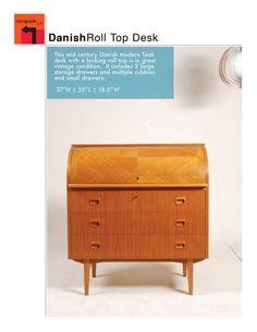 Mid Century Danish Modern Roll Top Desk in Teak by RetrogradeLA, $985.00
