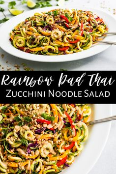 This Rainbow Pad Thai Zucchini Noodles Salad is my go-to recipe in the summer! It's a no cook recipe where the zucchini is spiralized and added to the salad raw. It's a great way to use up lots of zucchini, and if you've never had it raw before, you're in for a treat. You can add your choice of protein to make this a full meal. It's also naturally vegan, gluten free, paleo, and dairy free making it a great recipe for most diets.  #zucchini #zucchininoodles #vegan #paleo #dairyfree #healthy Vegan Dinner Recipes, Healthy Salad Recipes, Vegan Dinners, Vegan Recipes Easy, Beef Recipes, Real Food Recipes, Cooking Recipes, Lunch Recipes, Meatless Recipes