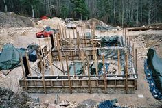 Build a Stone and Log House in France. by Steve Rawcliffe and Thomas J. Photo journal chronicles stone and log building process. Stone Exterior Houses, Stone Houses, Stone Masonry, Brick And Stone, Stone House Plans, Stone Cabin, House Plan With Loft, Chalet Design, Houses In France