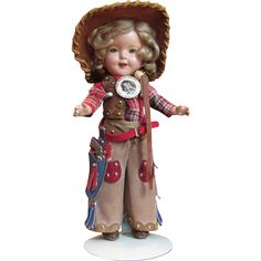 """Thank You 'L'_RARE Size 11"""" Shirley Temple as Texas Ranger Cowgirl_ from terisantiquesanddolls on Ruby Lane"""