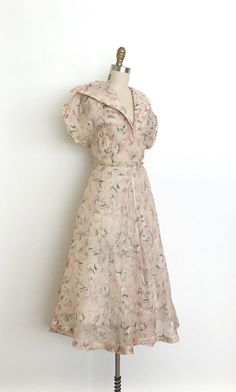 vintage 1940s dress 40s abstract printed dress