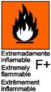 Extremadamente inflamables: las sustancias y preparados líquidos que tengan un punto de inflamación extremadamente bajo y un punto de ebullición bajo, y las sustancias y preparados gaseosos que, a temperatura y presión normales, sean inflamables en el aire. Identifica a aquellas sustancias que a temperatura ambiente y en contacto con el aire arden espontáneamente.