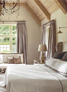 Atlanta master bedroom with luxurious Leontine Linens - by Suzanne Kasler in Architectural Digest