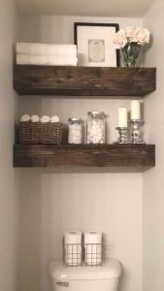 Bathroom shelves over toilet small baths magazine racks 22 Ideas - Bathroom Shelves Decor - Shelves Kitchen Wall Shelves, Bathroom Shelf Decor, Rustic Bathroom Shelves, Modern Farmhouse Bathroom, Modern Bathroom Decor, Rustic Shelves, Small Bathroom, Farmhouse Small, Bathroom Storage