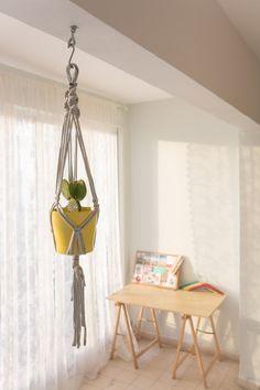 PLANT hanger macrame, modern grey pot holder,indoor outdoors pot hanger.