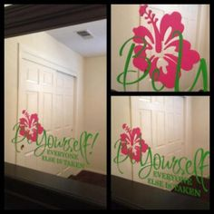 Custom is a Passion | Be Yourself: Pink & Green with Hibiscus