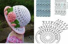 Sombrero a crochet Crochet Cap, Crochet Girls, Crochet Baby Hats, Crochet Scarves, Crochet Motif, Crochet For Kids, Diy Crochet, Crochet Doilies, Crochet Clothes