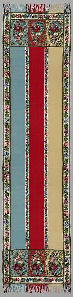 Shawl Nadezhda Merlina manufactory  Date: early 19th century Culture: Russian, probably Nizhny Novgorod province Medium: Tapestry and twill weave, goat fiber