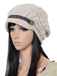 UZZO™ Fashion woman lady girl warm flexible handmade Knitted Crochet Baggy Beret  Cap Hat embellishment by one PU Braids for woman outdoor sports(MW)+Free ... 8f5903c989be