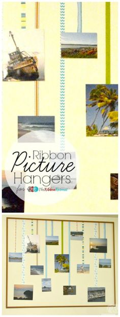 Ribbon Picture Hangers - The Ribbon Retreat Blog. (Also great way to display Christmas Cards)