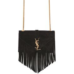 SAINT LAURENT Small Monogram Fringed Suede Bag - Black ($1,885) ❤ liked on Polyvore featuring bags, handbags, black, suede purse, black suede purse, chain strap purse, black fringe purse and suede handbags