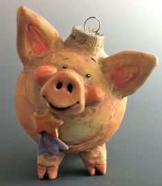 Vintage Style Pig Ornament/Small Sculpture by Doren Kassel Sculptures Céramiques, Small Sculptures, Noel Christmas, Christmas Crafts, Christmas Ornaments, This Little Piggy, Little Pigs, Pig Crafts, Funny Pigs