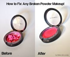 How to Fix Any Broken Powder Makeup... Really! Broken powder makeup (powder, eyeshadow, or blush) Rubbing alcohol (the higher the concentration, the better- I used 70) Plastic wrap (optional, but keeps your fingers cleaner!) Add a few drops of rubbing alcohol to the compact, and let it soak in. Use your finger, the back of a spoon, or anything, really, to rub and smooth down the makeup. Once your makeup is all smooth again, all you have to do is wait, preferably overnight.
