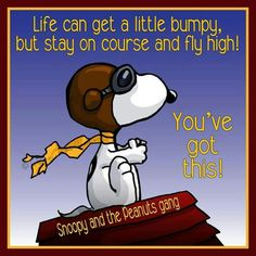 L'image contient peut-être : texte possible qui dit '口 Life can get a little bumpy, but stay on course and fly high! Snoopy and the Peanuts gang' via Aviation Quotes, Aviation Humor, Aviation Insurance, Snoopy Images, Snoopy Pictures, Charlie Brown Quotes, Charlie Brown And Snoopy, Peanuts Quotes, Snoopy Quotes