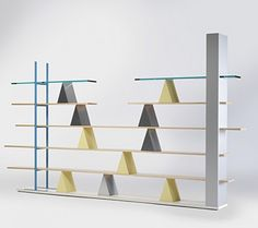 ANDREA BRANZI    Gritti bookcase    Memphis  Italy, 1981  ash, enameled steel, laminate, glass  131 w x 11.75 d x 80.5 h inches