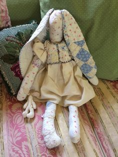 Rare Lg Vintage Bunny Rabbit Handmade Patchwork Quilt Primitive Stuffed Animal