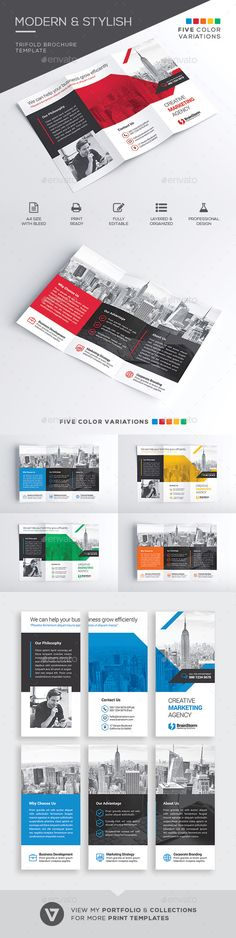 Trifold Brochure Template Corporate Brochure Template by verazo. Corporate Profile, Corporate Brochure, Corporate Design, Travel Brochure Template, Invoice Template, Stationery Printing, Stationery Design, Cool Business Cards, Print Templates