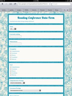 Make a Google form to track quick notes during student conferencing/goal-setting
